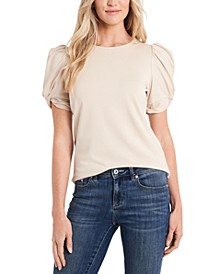 Puff-Sleeve Crewneck Top
