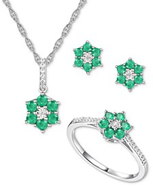 3-Pc. Set Emerald (1 ct. t.w.) & Certified Diamond (1/8 ct. t.w.) Pendant Necklace, Stud Earrings and Cluster Ring in Sterling Silver (Also in Ruby & Sapphire)