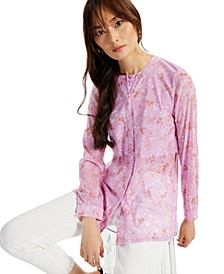 Ditsy-Print Mandarin-Collar Top, Created for Macy's