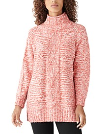 Mock-Neck Cable-Knit Tunic Sweater