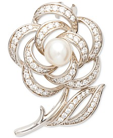 Cultured Freshwater (6 1/2 -7mm) Pearl And Cubic Zirconia Rose Pin in Sterling Silver
