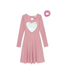 Little Girls Long Sleeve Dress with Scrunchie
