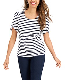Petite Cotton Knit Striped Split-Sleeve Top, Created for Macy's