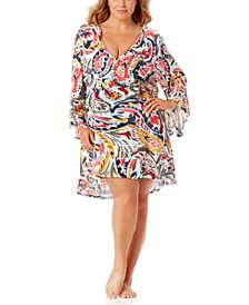 Printed Flounce-Hem Tunic Cover-Up