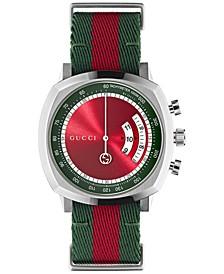 Men's Swiss Chronograph Grip Red & Green Nylon Strap Watch 40mm
