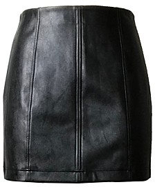 Juniors' Faux-Leather Mini Skirt