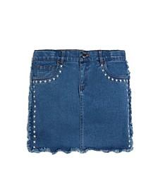 Big Girls Frayed Stretch Denim Skirt