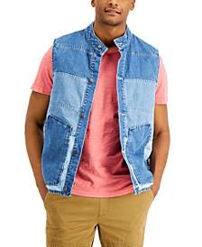 Men's Brill Pieced Colorblocked Denim Vest
