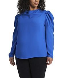 Women's Plus Long Sleeve Puff Shoulder Blouse