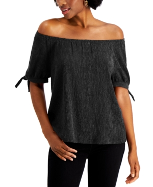 Style & Co Tops OFF THE SHOULDER TIE-SLEEVE TOP, CREATED FOR MACY'S