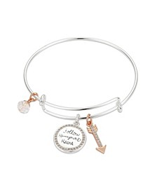 "Crystal ""Follow Your Heart"" Coin and Arrow Adjustable Bangle Bracelet in Stainless Steel and Rose Gold Two-Tone Fine Silver Plated Charms"