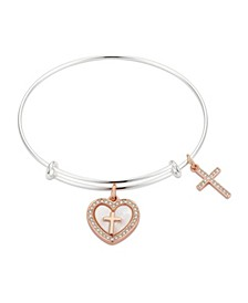 """Mother of Pearl """"Faith"""" Adjustable Bangle Bracelet in Stainless Steel and Rose Gold Two-Tone Fine Silver Plated Charms"""