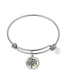 "Marcasite Crystal ""My Family, My Everything"" Tree Adjustable Bangle Bracelet in Stainless Steel and Gold Two-Tone Fine Silver Plated Charms"