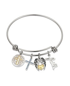 Crystal Faith Cross Wings Adjustable Bangle Bracelet in Stainless Steel and Gold Two-Tone Fine Silver Plated Charms