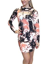Juniors' Tie-Dyed Cutout Hoodie Dress