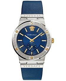 Men's Swiss Blue Leather Strap Watch 41mm