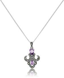 Amethyst Fleur De Lis Pendant and a Curb Chain