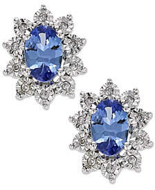 Tanzanite (3/4 ct. t.w.) and Diamond Accent Stud Earrings in 10k White Gold