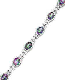 Sterling Silver Mystic Topaz Oval Link Bracelet (14-9/10 ct. t.w.)