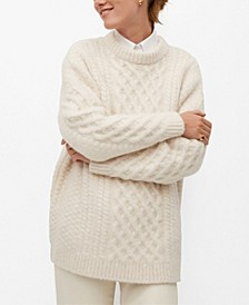 Women's Contrasting Knit Long Sweater