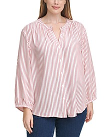 Plus Size Striped Peasant Blouse