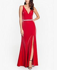 V-Neck Embellished-Waist Gown
