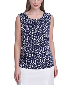 Plus Size Printed Sleeveless Pleat-Neck Top