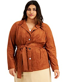 Plus Size Belted Faux-Suede Jacket, Created for Macy's