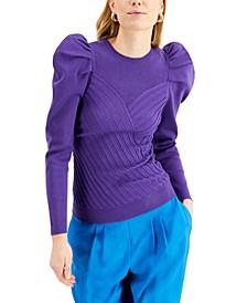 INC Puff-Sleeve Rib-Knit Sweater, Created for Macy's