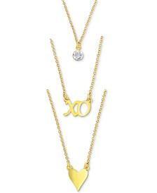"""Gold-Tone Crystal, XO & Heart Layered Pendant Necklace, 16"""" + 3"""" extender"""
