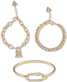 Gold-Tone 3-Pc. Set Pavé Pretty Punk Bracelets
