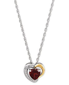 """Amethyst (3/4 ct. t.w.) & Lab-Created White Sapphire (1/20 ct. t.w.) 18"""" Pendant Necklace in Sterling Silver & 10k Gold (Also in Rhodolite Garnet)"""
