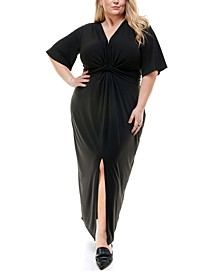Trendy Plus Size Twist-Front Maxi Dress