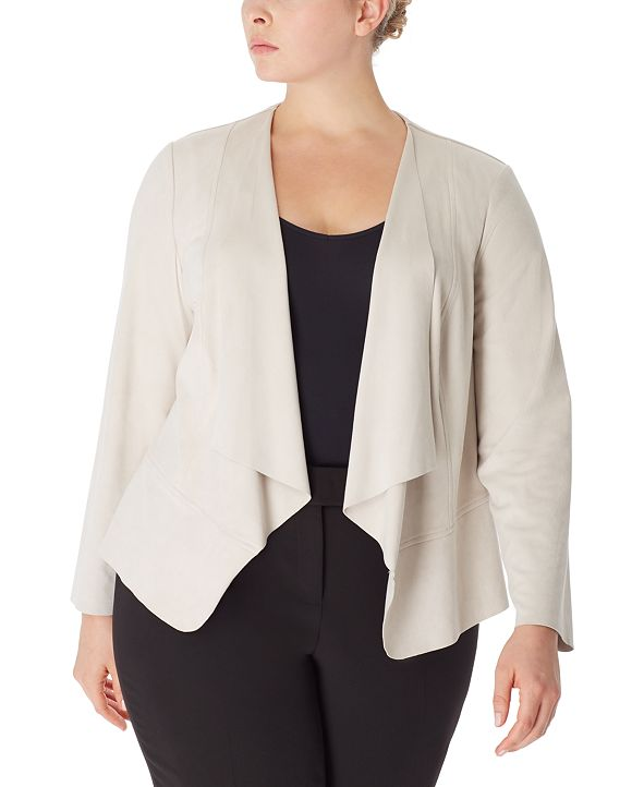 Anne Klein Plus Size Drape-Front Peplum Jacket