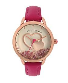 Women's Floating Stones Pink Polyurethane Strap Watch 40mm
