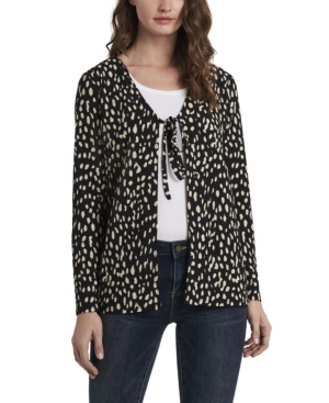 Vince Camuto WOMEN'S TEXTURED KNIT PRINTED TIE FRONT CARDIGAN
