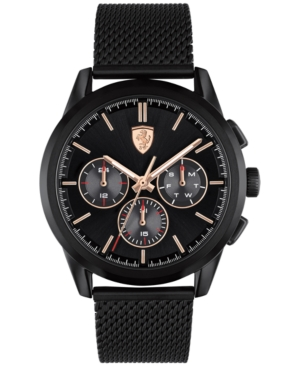 Men's Chronograph Grand Tour Black Stainless Steel Mesh Bracelet Watch 44mm