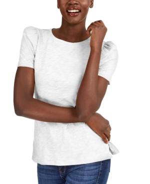 Slub Puff-Sleeve T-Shirt