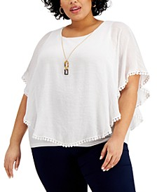 Plus Size Gauze Poncho Layered Top, Created for Macy's