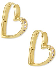14k Gold-Plated Small Cubic Zirconia Heart Hoop Earrings