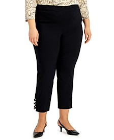 Plus Size Ring-Detail Pull-On Pants, Created for Macy's