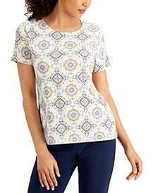 Printed Short-Sleeve Jacquard Top, Created for Macy's