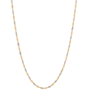 """Polished Diamond Cut 20"""" Solid Singapore Chain in 10K Yellow Gold"""