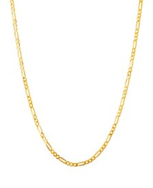 "Polished 20"" Figaro Chain in Solid 10K Yellow Gold"