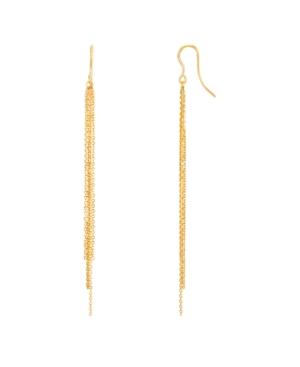 Polished Diamond Cut Graduated Multi Chain Tassle Drop Earrings in 10K Yellow Gold