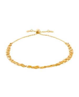 Polished Solid 5 Strand Mirror Bolo Bracelet in 10K Yellow Gold
