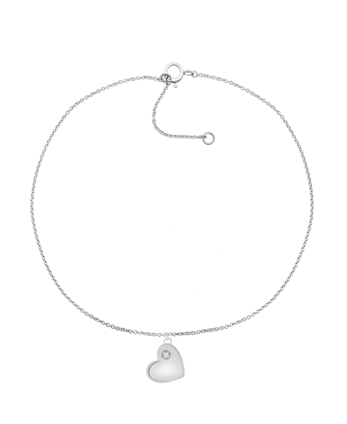 """Diamond Accent Heart Anklet in Sterling Silver, 9"""" + 1"""" extender"""