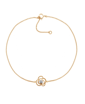 Diamond Accent Flower Anklet In 14K Rose Gold-Plated Sterling Silver