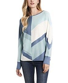 Women's Dolman Sleeve Chevron Colorblock Sweater