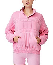 Women's Quilted Zip Through Fleece Sweater